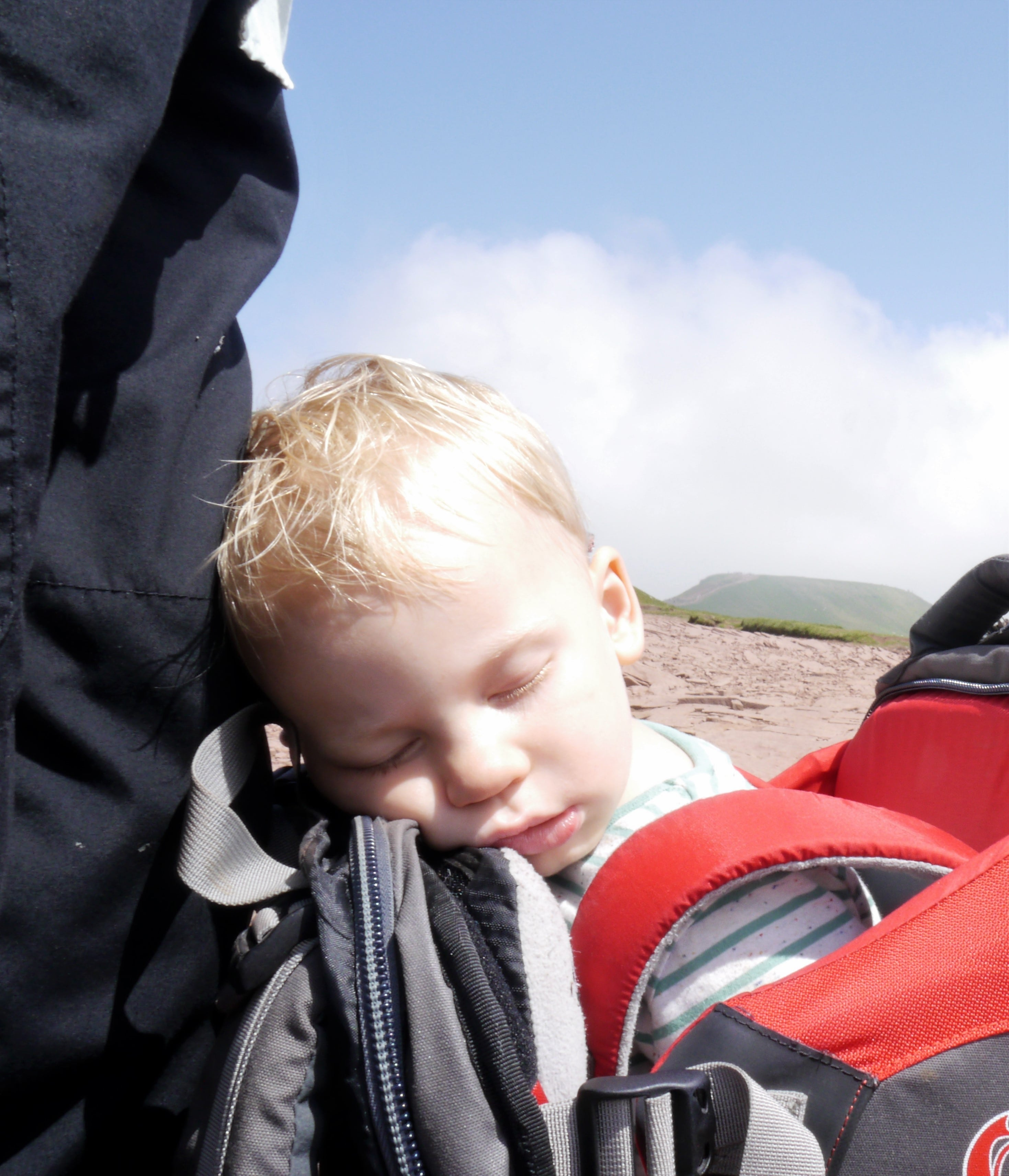 Toddler worn out from climbing