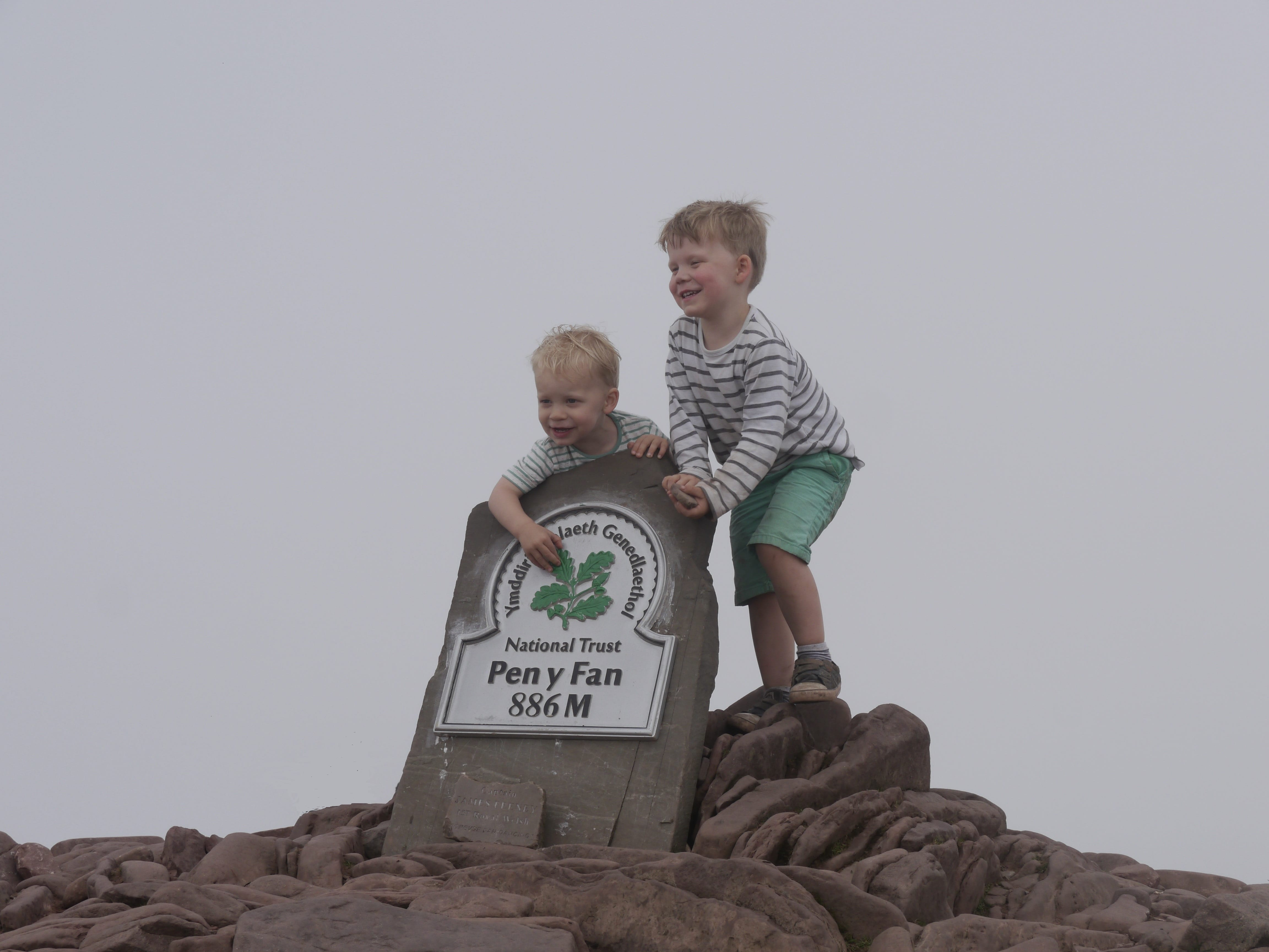 Small explorers at the summit of Pen y Fan