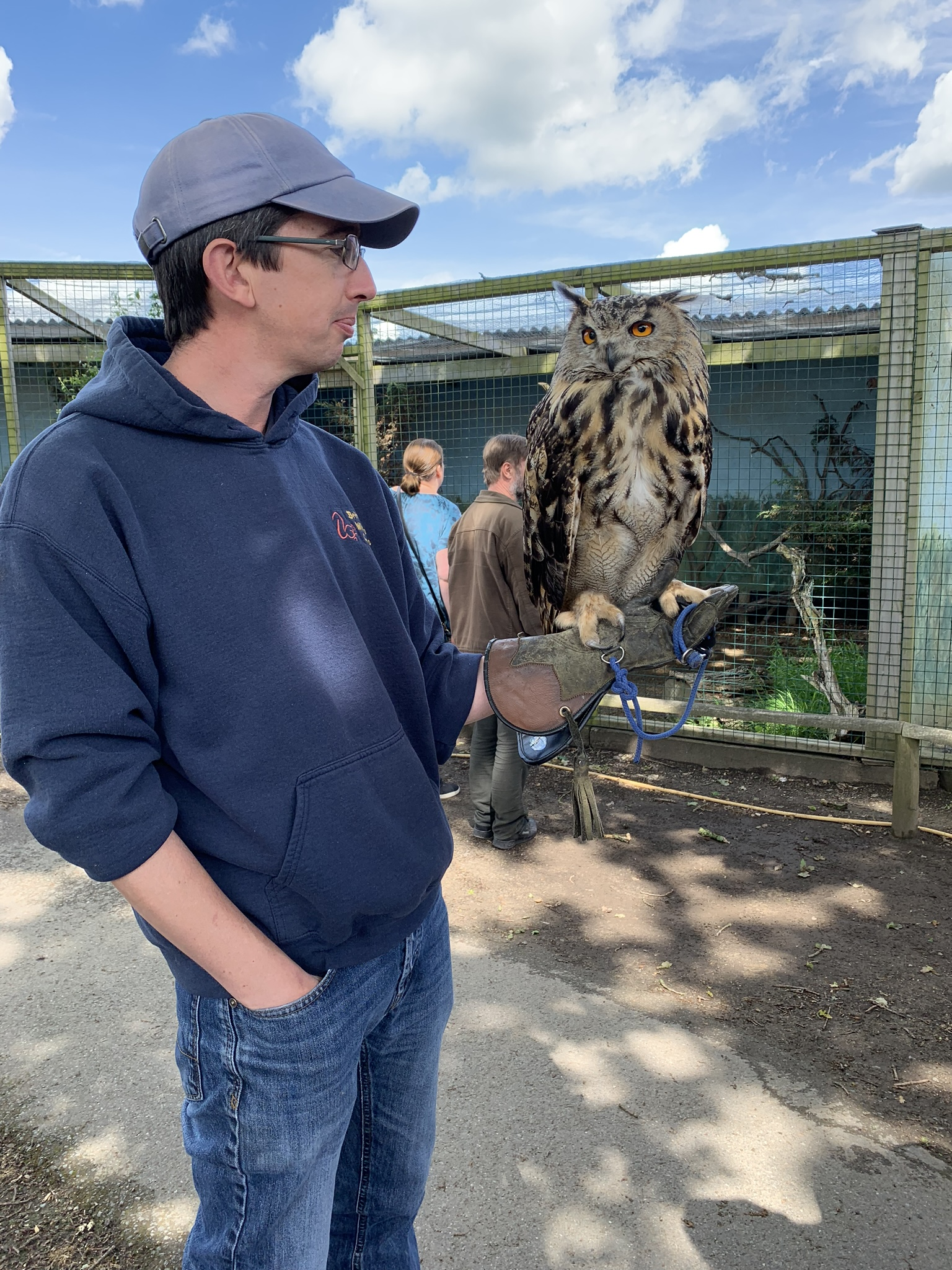 British Wildlife Centre, keeper holding an eagle owl
